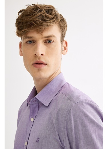 Avva Erkek  Düz Klasik Yaka Slim Gömlek A01Y2120 Mor